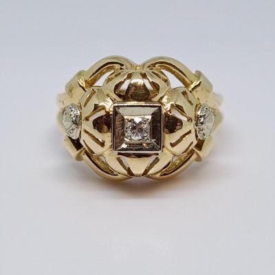 Old Diamond Ring 0.05 Carat 18k Yellow Gold 750/1000 5.46 Grams