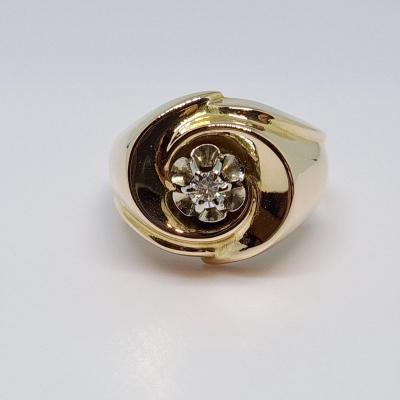 Old Diamond Ring 0.07 Carat 18k Yellow Gold 750/1000 3.71 Grams