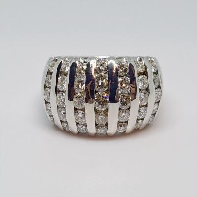 Diamond Ring 1.80 Carat White Gold 18 Carats 750/1000 11.90 Grams