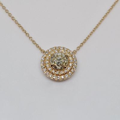 1.02 Carat Diamond Necklace In 18k 750/1000 Rose Gold 4.73 Grams
