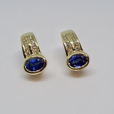 Boucles d'Oreilles Saphirs 1.20 Carat & Diamants Or Jaune 18 Carats 6.73 Grammes