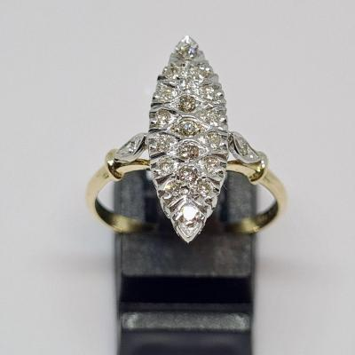Marquise Ring 21 Diamonds 0.30 Carat 18k Yellow Gold 750/1000 3.63 Grams