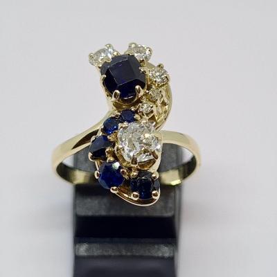 Antique Ring Sapphires & Diamonds 18k Yellow Gold 750/1000 6.27 Grams