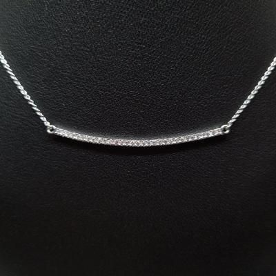 0.20 Carat Diamond Barrette Necklace In 18k 750/1000 White Gold 2.21 Grams