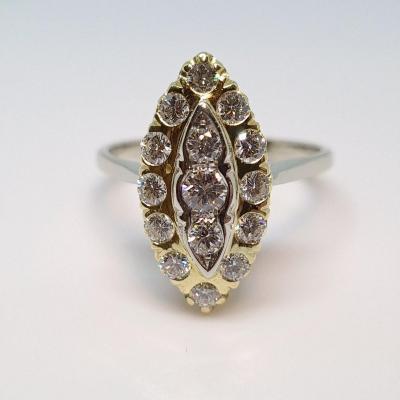Marquise Ring 15 Diamonds 0.90 Carat 2 Gold 18 Carats 750/1000 6.34 Grams