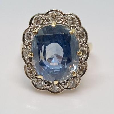 Antique 12k Sapphire & Diamond Ring 18k Yellow Gold 7.78 Grams