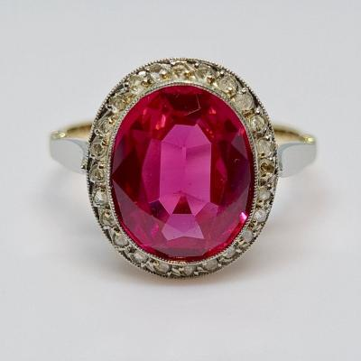 3.60 Carat Old Synthetic Ruby Ring In 18k Yellow Gold 3.05 Grams