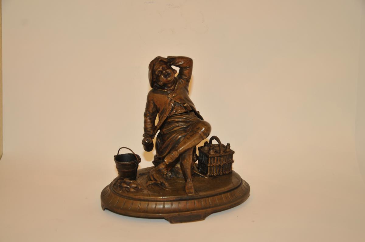 """Encrier en Bronze XIXe """"joyeux Drille"""""""