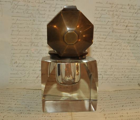 Encrier Massif En Cristal Des Années 1920 Art Déco
