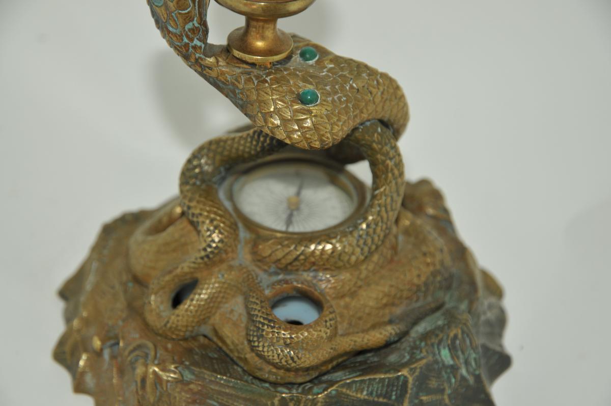 Encrier serpent et boussole en bronze avec porte-bougie XIXe