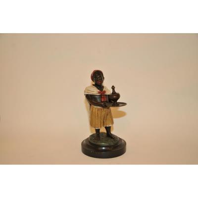 Encrier Orientaliste En Bronze Patiné Polychrome De 1880