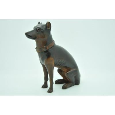 Wooden Inkwell Shaped Dog Nineteenth