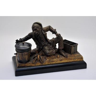 Monkey Anthropomorphic Bronze Inkwell Antique Brown