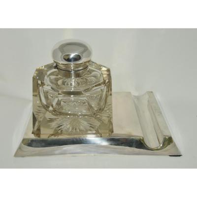 Encrier En Cristal Et Argent Massif De Style Art-déco D'époque 1920/1930