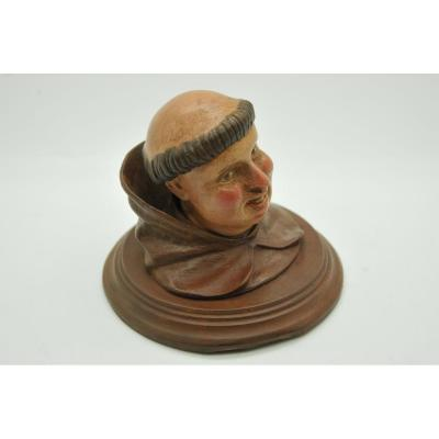 Monk Inkwell Bronze Polychrome Late Nineteenth