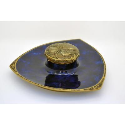 Inkwell Porcelain Blue Signed Louchet