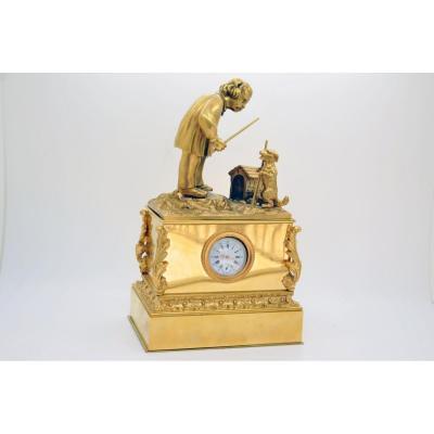 Inkwell Pendulum Gilt Bronze Empire Period