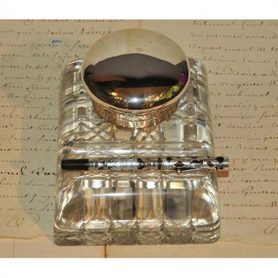 Inkwell Crystal And Sterling Silver Of 20 Years