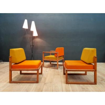 Set Of 3 Minimalist 1950 Armchairs