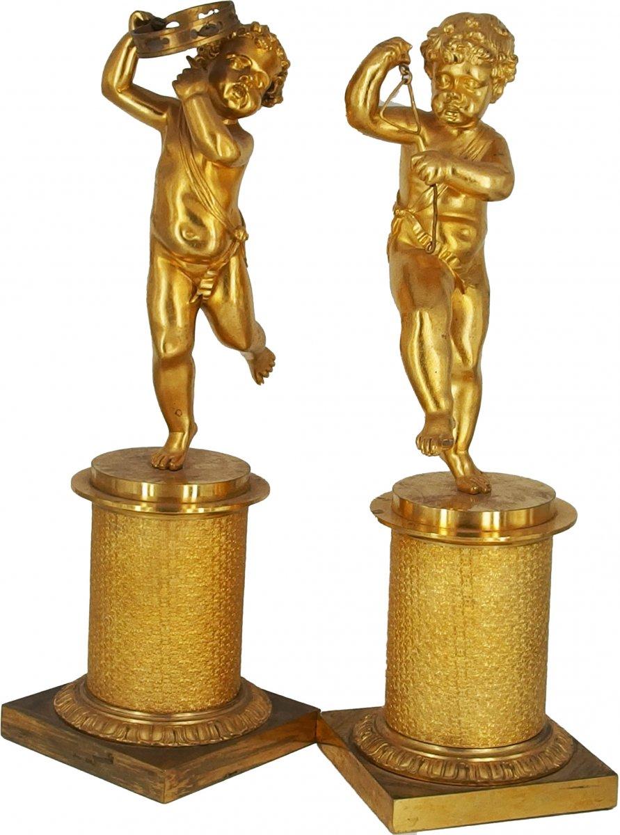 Paire d'Angelots Musiciens En Bronze Doré
