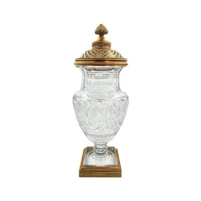 Poupouri Vase In Glass And Bronze