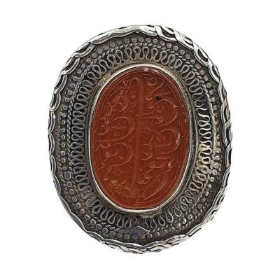 Berber Seal Ring In Silver And Agate