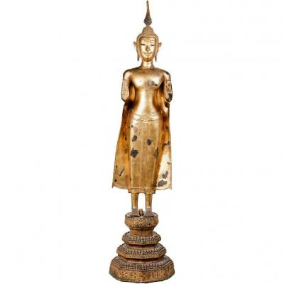 Thai Buddha In Gilt Bronze