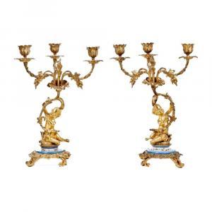 Bougeoirs En Porcelaine De Sèvres Et Bronze