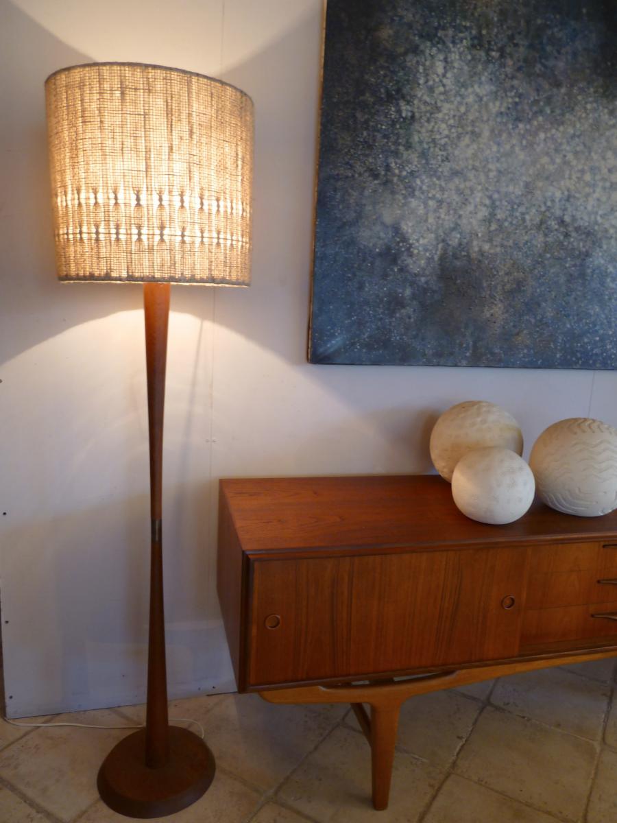Diabolo En Teck Scandinave 1960 Lamp