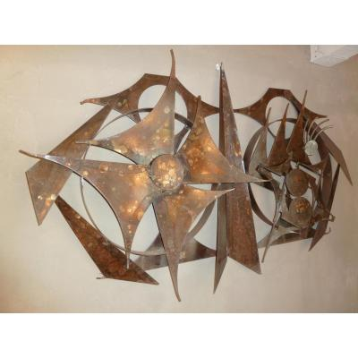 Metal Wall Sculpture Of H. Horst 1970