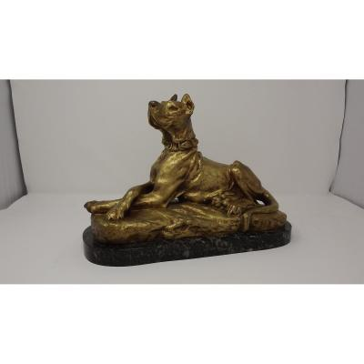 Dogue Couché Doré Bronze By Thomas Cartier (1879-1943)