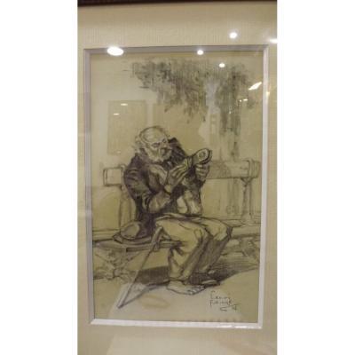 """dessin original d'Henri Faivre """"la savate trouée"""" Paris 1926"""