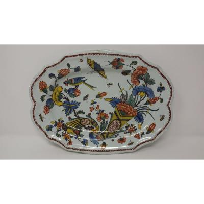 Rouen Faience Dish XVIIIth With Double Cornucopia