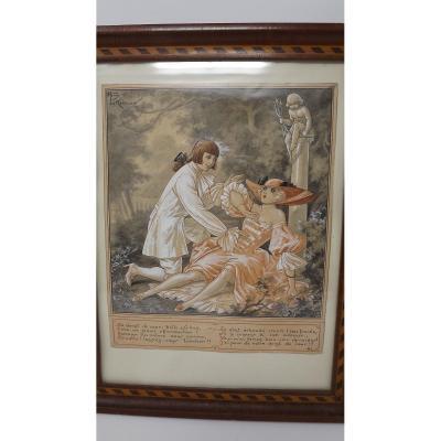 Gouache Originale Erotique Erotica De Henry Le Monnier