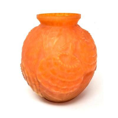 Vase Art Déco Pierre d'Avesn Orange Grosses Fleurs