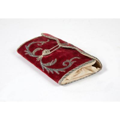 18th Century Silver Embroidered Velvet Wallet.