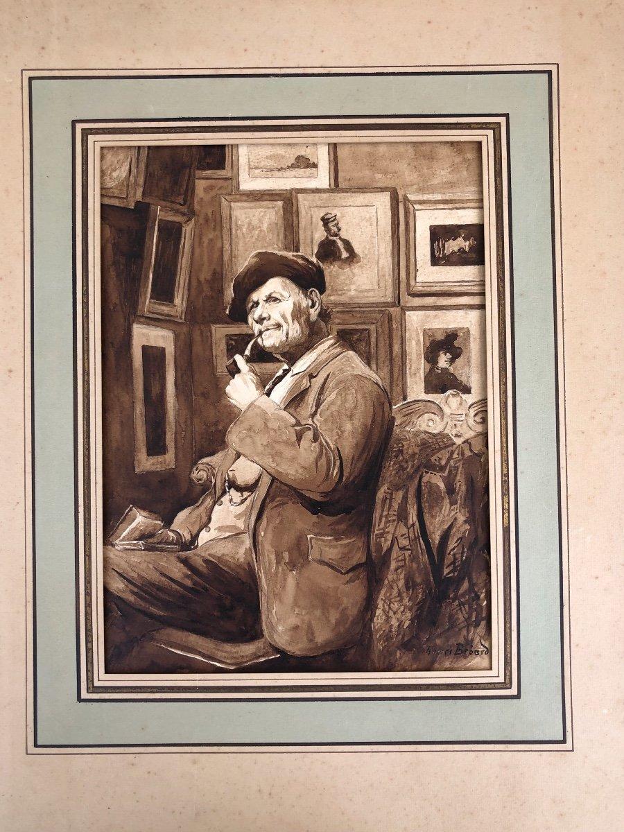 Henri Georges Bréard (1873-1950) Autoportrait De L'artiste Dans Son Atelier Lavis D'encre 1930