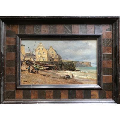 André Giroux «arromanches, Beach (normandy) », Oil On Canvas