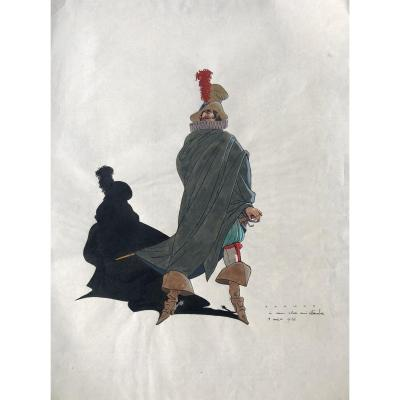 René RANSON «Cyrano de Bergerac », Encre Et Aquarelle Dédicacée à Charles Leandre / théâtre