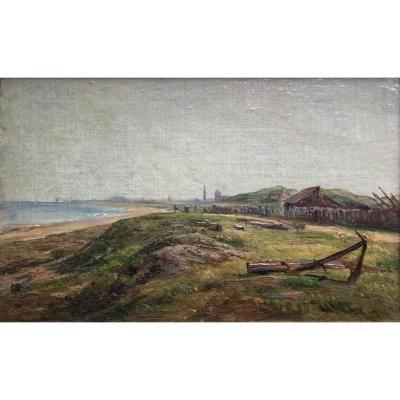 André Giroux «courseulles Sur Mer ,  Beach (normandy)» Oil / See, Landscape