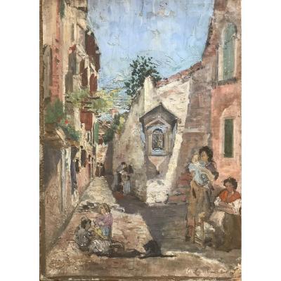 École Espagnole, Attribuée à Francisco Pradilla Y Ortiz «Rue De Venise Animée 1872», huile / Italie