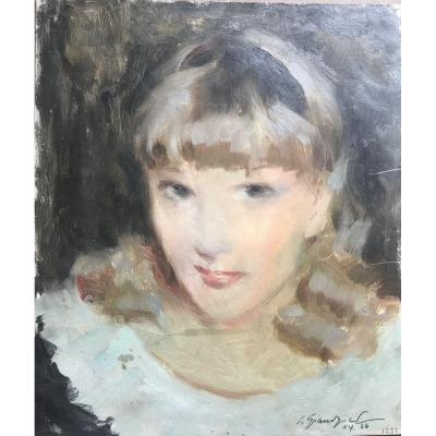 Lucien Henri Grandgerard (1880-1970) Portrait De Jeune Fille New York 1944 Huile Grandgérard