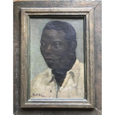 René Lecomte Portrait D'un Homme Noir 1937 Exposition Coloniale Huile Sur Toile Africain Afrique