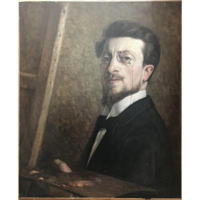 Jules Alfred HERVÉ MATHÉ (1868-1953) Autoportrait Huile Sur Toile Vers 1898-1900 Le Mans Sarthe