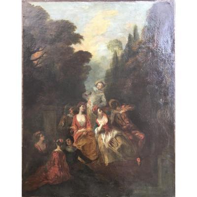 Suiveur de LANCRET «les Comédiens Italiens Près De La Fontaine» - Huile - scène galante