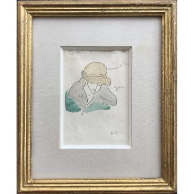 Louis Valtat - Portrait De Femme Au Chapeau - Aquarelle originale et Crayon