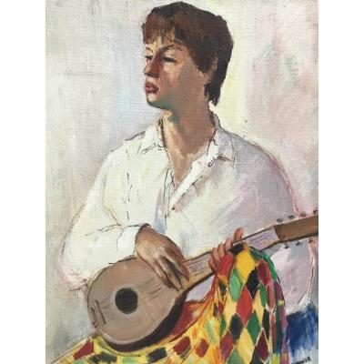 Eugène Gasnier - Huile Sur Toile - Portrait garçon - Jeune Homme Musicien à La Guitare - années 40