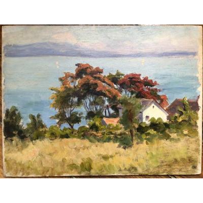 WISLIN Charles (1852-1932) Huile sur Panneau Paysage Lac Léman Montagne Neige Thonon Savoie