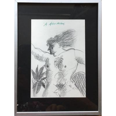 Alekos Fassianos - Male Nude / Female Bare Breast - Original Double Sided Drawing - Greece Greek Mythology