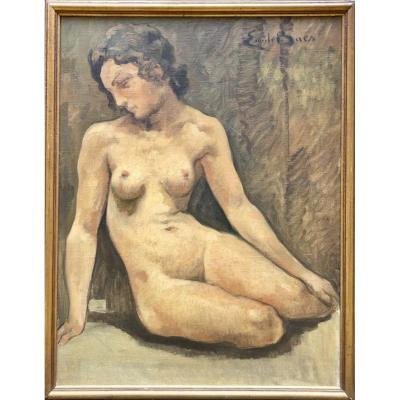 BAES Émile Huile sur Toile Portrait de Femme Nue Tableau Peinture Belge Belgique XXème